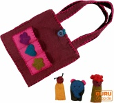 Filz-Tasche mit 3 Fingerpuppen - rot