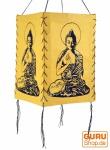 Lokta Papier Hänge-Lampenschirm, Deckenleuchte aus handgeschöpftem Papier - Buddha gelb