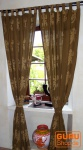 Vorhang, Gardine (1 Paar Vorhänge, Gardinen) mit Schlaufen, handbedruckt Gecko Motiv