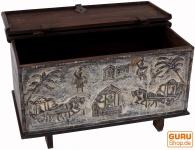 Rustikale Orissa tribal Holztruhe oder Sitzbank mit Verzierungen und Schnitzereien - Modell 10