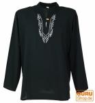 Yoga Hemd bestickt, Goa Shirt - schwarz/weiß