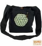 Besticktes Sadhu Bag, Goa Tasche Schulterbeutel - schwarz/grau