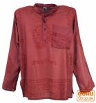 Hare Krishna Mantra Shirt, Goa Hippie Hemd - rostrot