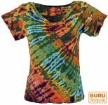 Batik Hippie T-Shirt mit V-Auschnitt - olive