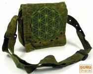 Ethno Schultertasche, Nepaltsche Stonewash `Mandala`- grün