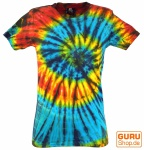 Batik T-Shirt, Tie Dye Goa Shirt - blau/schwarz
