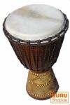 Holztrommel, Percussion Rhythmus Klang Instrument, (Djembe) mit Schnitzereien in verschiedenen Größen