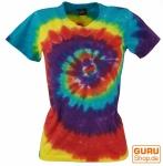 Batik T-Shirt für Damen, Tie Dye Goa Shirt Regenbogen - blau/rot