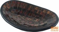 Ovale Mosaikschale, Untersetzer, Dekoschale, handgearbeitete Keramik & Glas Obst Schale - Design 1
