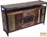 Vintage Kommode mit Türen und Schubladen aus Metall und Recyclingholz