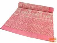 Blockdruck Tagesdecke, Bett & Sofaüberwurf, handgearbeiteter Wandbehang, Wandtuch - rosa Blumen Ornament 1