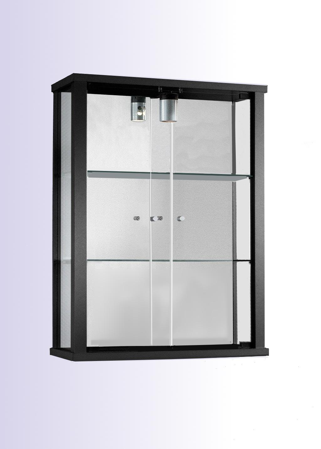 h ngevitrine schwarz glasvitrine sammelvitrine. Black Bedroom Furniture Sets. Home Design Ideas
