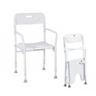 Faltbarer Aluminium-Duschstuhl mit Armlehnen und Rückenlehne