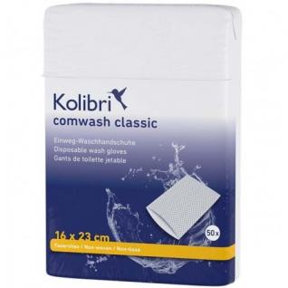 Kolibri comwash classic Waschhandschuhe weiß-blau, 50 Stück
