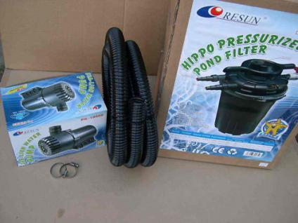 Set Resun Druckfilter + 24W UVC + Filterpumpe 18000 L/h Teichfilter Koiteich
