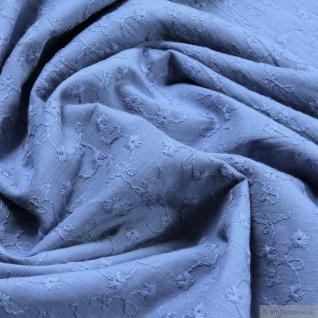 Stoff Baumwolle Batist pastellblau Stickerei leicht transparent blau