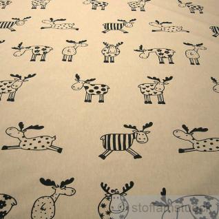 Stoff Baumwolle Polyester Rips natur Elch schwarz groß Elche Tier Rentier natur