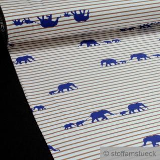 0, 5 Meter Stoff Baumwolle Elastan Single Jersey Streifen weiß beige Elefant