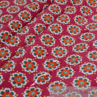 Stoff Baumwolle Acryl lila Herzchen - Blume beschichtet wasserabweisend