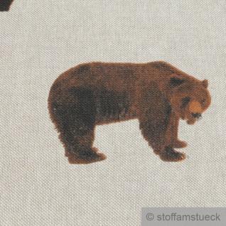Stoff Kinderstoff Baumwolle Polyester Rips natur Bär Braunbär - Vorschau 5
