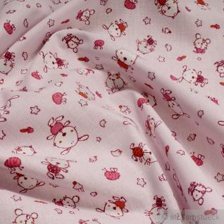 Stoff Kinderstoff Baumwolle Popeline rosa Hund Katze Baumwollstoff klein gemustert