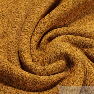 Stoff Polyester Alpenfleece ocker schwarz meliert kuschelig warm weich
