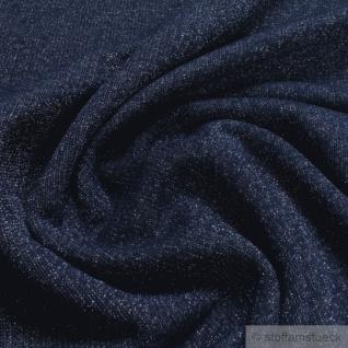 Stoff Baumwolle Lurex Single Jersey dunkelblau Glitzer angeraut Glitter