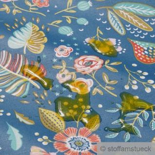 Stoff Baumwolle Acryl blau Blume Dschungel beschichtet wasserabweisend