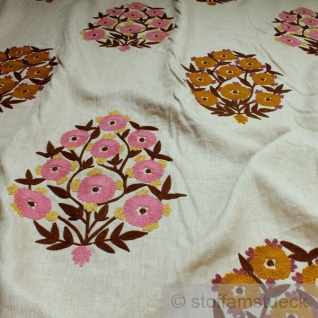 Stoff Leinen natur Stickerei Blume pink bestickt Blüte