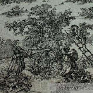 Stoff Leinen Toile de Jouy Ernte natur schwarz Reinleinen klassisch - Vorschau 3