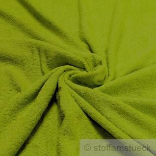 Stoff Baumwolle Frottee grasgrün Frotté zweiseitig Baumwollstoff grün weich