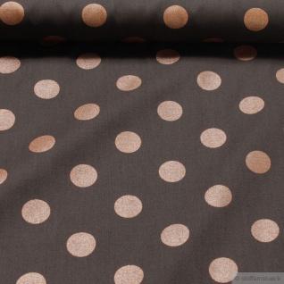 Stoff Baumwolle Popeline Punkte braun bronze Glitzer kbA GOTS Glitter C. Pauli