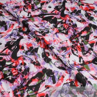 2 Meter Stoff Baumwolle Lycra Köper Graffiti lila rot multicolour elastisch Hose