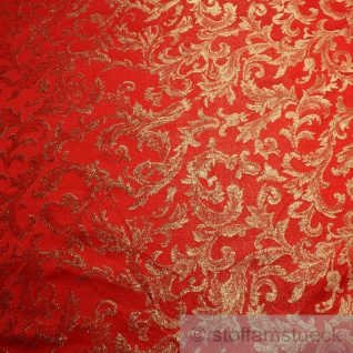 Stoff Polyester Jacquard Ornament rot gold Lurex Goldbrokat Barock Rokoko 300 cm - Vorschau 2