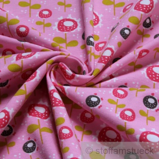 Stoff Baumwolle Elastan Single Jersey rosa Blume Retrostil dehnbar elastisch