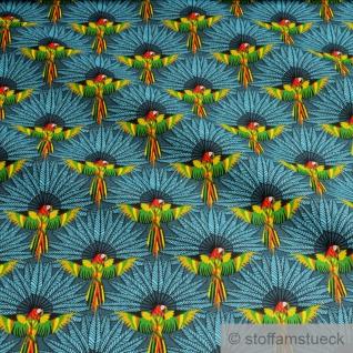 Stoff Baumwolle petrol Papagei Feder Baumwollstoff weich leicht
