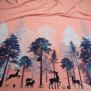 Stoff Baumwolle Lycra Single Jersey rosa Reh Glitzer Wald Herzchen T-Shirt-Kleid