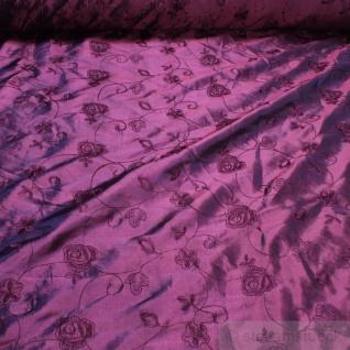 Stoff Polyester Kleidertaft violett Stickerei Rose Paillette Blume lila