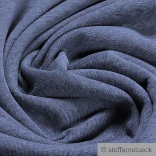 0, 5 Meter Baumwolle Polyester Jersey angeraut blaugrau Sweatshirt weich dehnbar