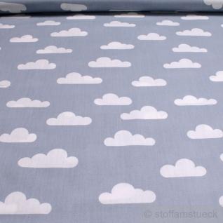 Stoff Baumwolle Popeline Wolke hellblau weiß Wölkchen Baumwollstoff