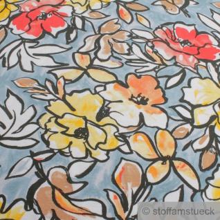 Stoff Viskose Elastan Single Jersey hellblau Blume fließend fallend Blumen - Vorschau 3