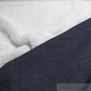 Stoff Polyester Baumwolle Teddy weiß Jeans dunkelblau warm weich