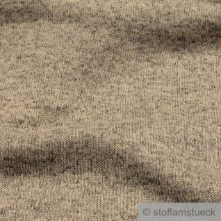 Stoff Polyester Single Jersey angeraut beige meliert Alpenfleece weich