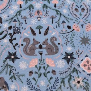 Stoff Baumwolle Elastan Single Jersey blau Eichhörnchen Vögel Eicheln Wald - Vorschau 3
