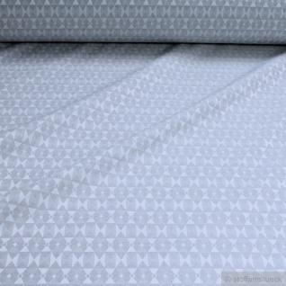 Stoff Baumwolle Polyester Jacquard Raute hellgrau breit 282 cm überbreit