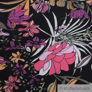 Stoff Viskose schwarz Blume pink fließend leicht weich Blumen farbenfroh - Vorschau 3
