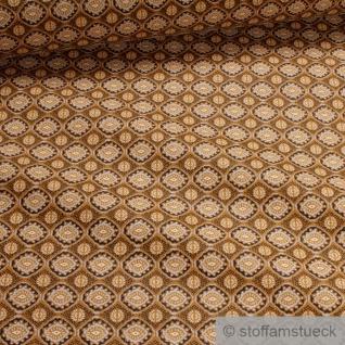 Stoff Baumwolle ocker Blumen Raute Baumwollstoff