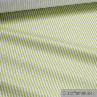 Stoff Polyester Baumwolle Satin Römerstreifen hellgrün weiß 3 mm