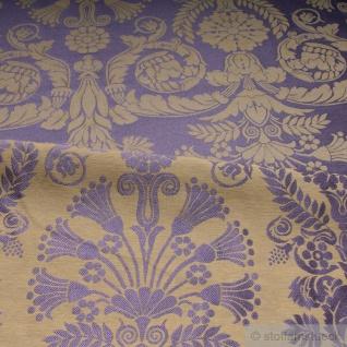 Stoff Polyester Baumwolle Jacquard Ornament klein taupe gold 280 cm breit lila - Vorschau 5