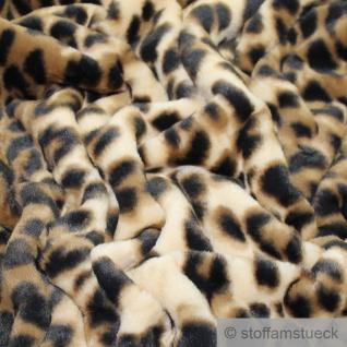 Stoff Polyester Fell beige Leopard Fellimitat Langflor Webpelz weich
